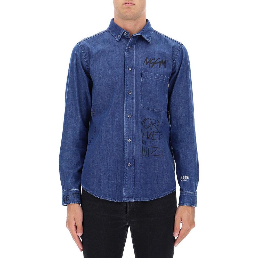 エムエスジーエム Msgm メンズ トップス シャツ【Blue cotton denim shirt】Blue