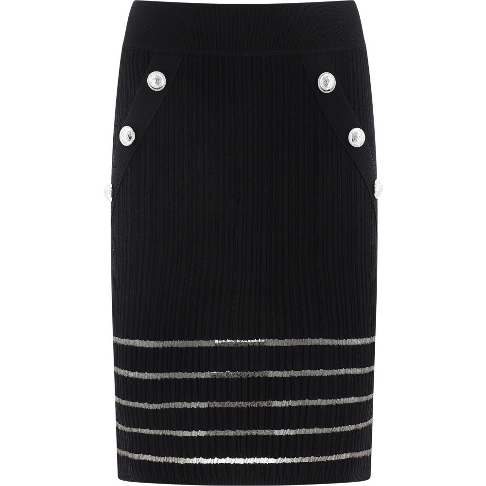 バルマン Balmain レディース スカート 【Stretch Skirt With Tulle Inserts】Black
