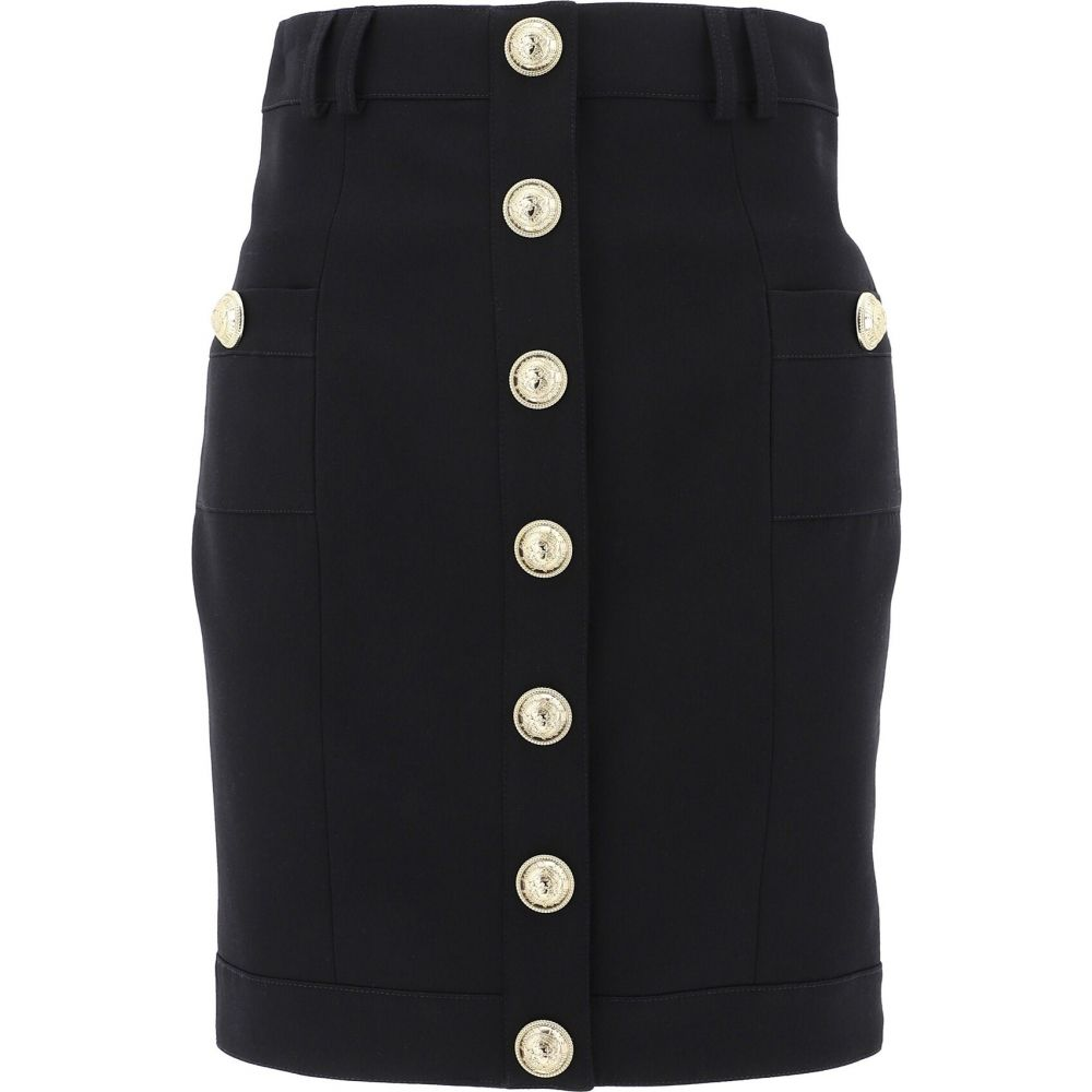 バルマン Balmain レディース スカート 【Wool Skirt With Embossed Buttons】Black