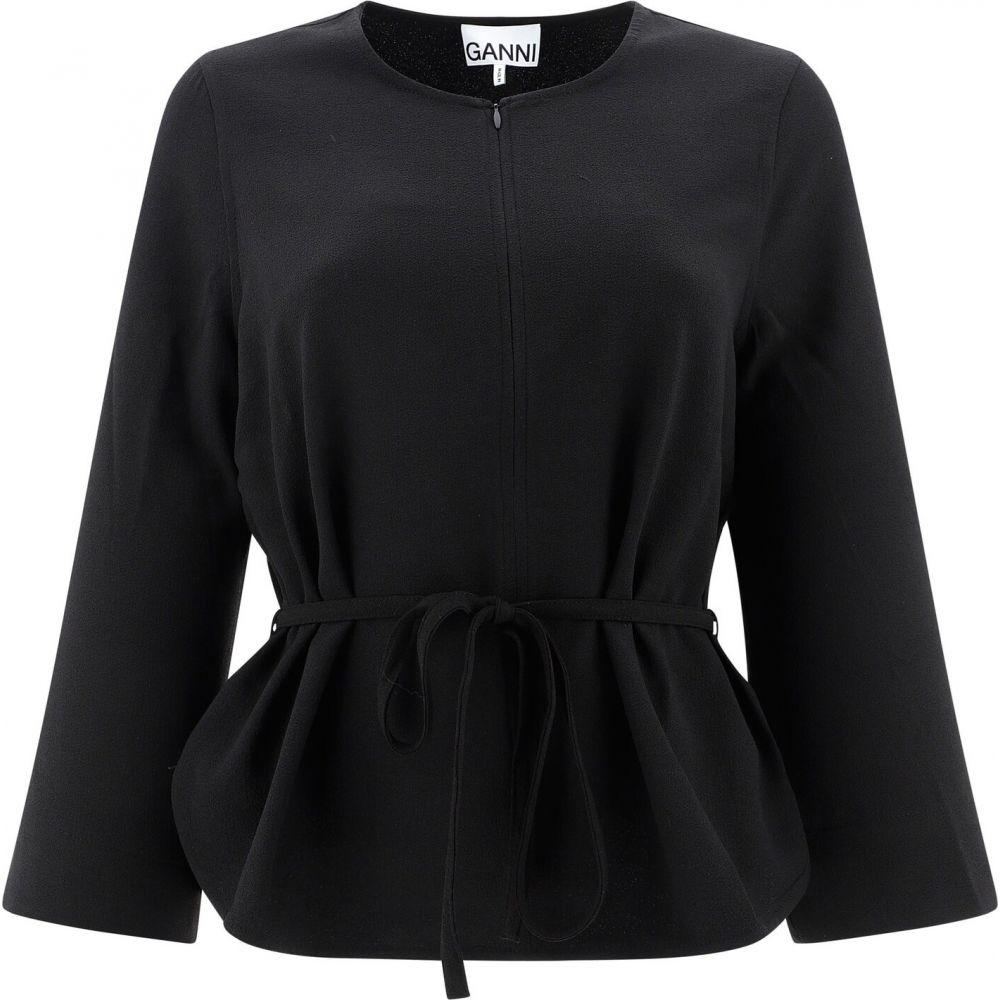 ガニー Ganni レディース ブラウス・シャツ トップス【Half Zip Blouse With Lace】Black