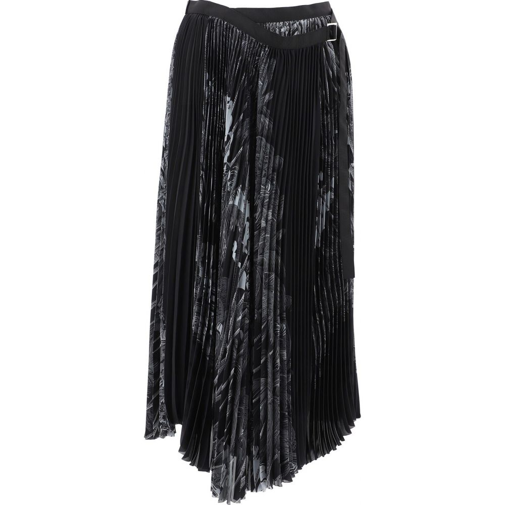 サカイ Sacai レディース スカート 【Pleated Skirt With Tropical Print】Black