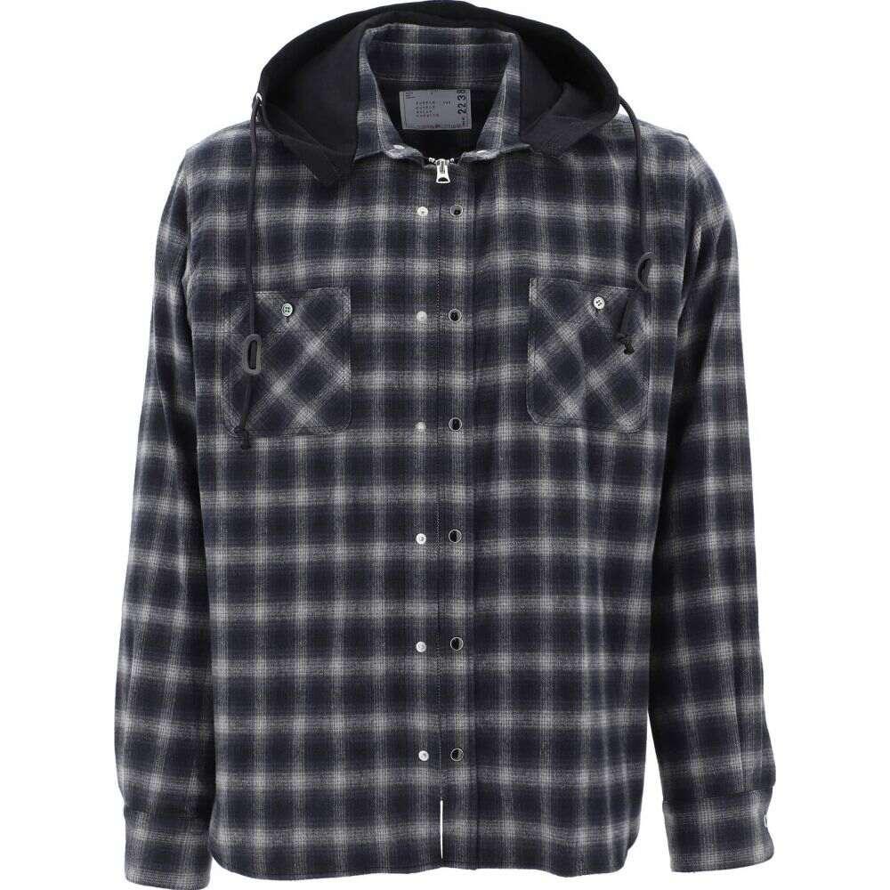 サカイ Sacai メンズ ジャケット アウター【Checked jacket with hood】Black
