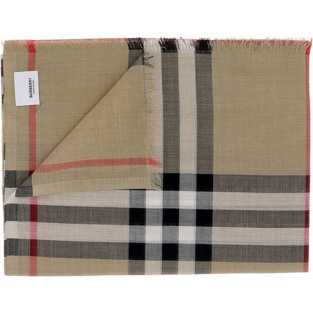 バーバリー Burberry メンズ マフラー・スカーフ・ストール 【Tartan wool and silk scarf】Beige