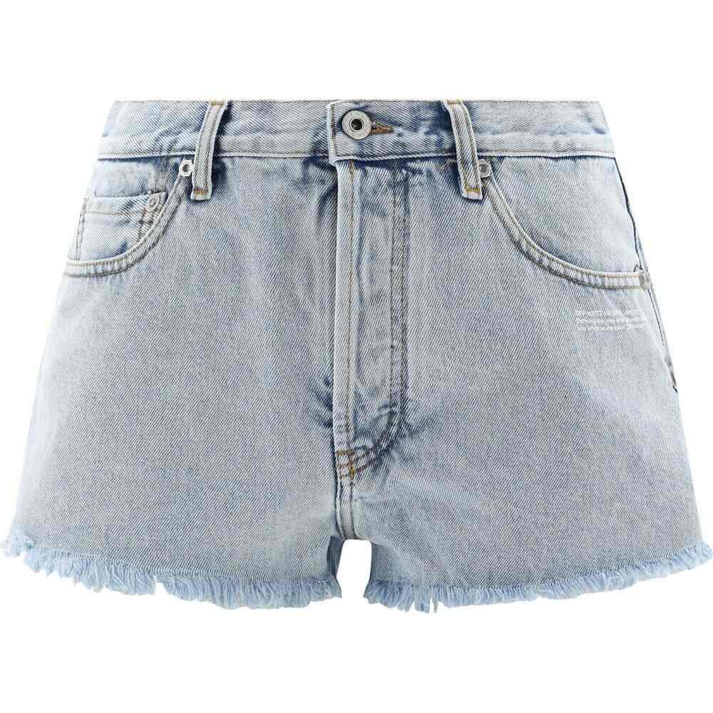オフホワイト Off-White c/o Virgil Abloh レディース ショートパンツ デニム ボトムス・パンツ【Ripped denim shorts】Light Blue
