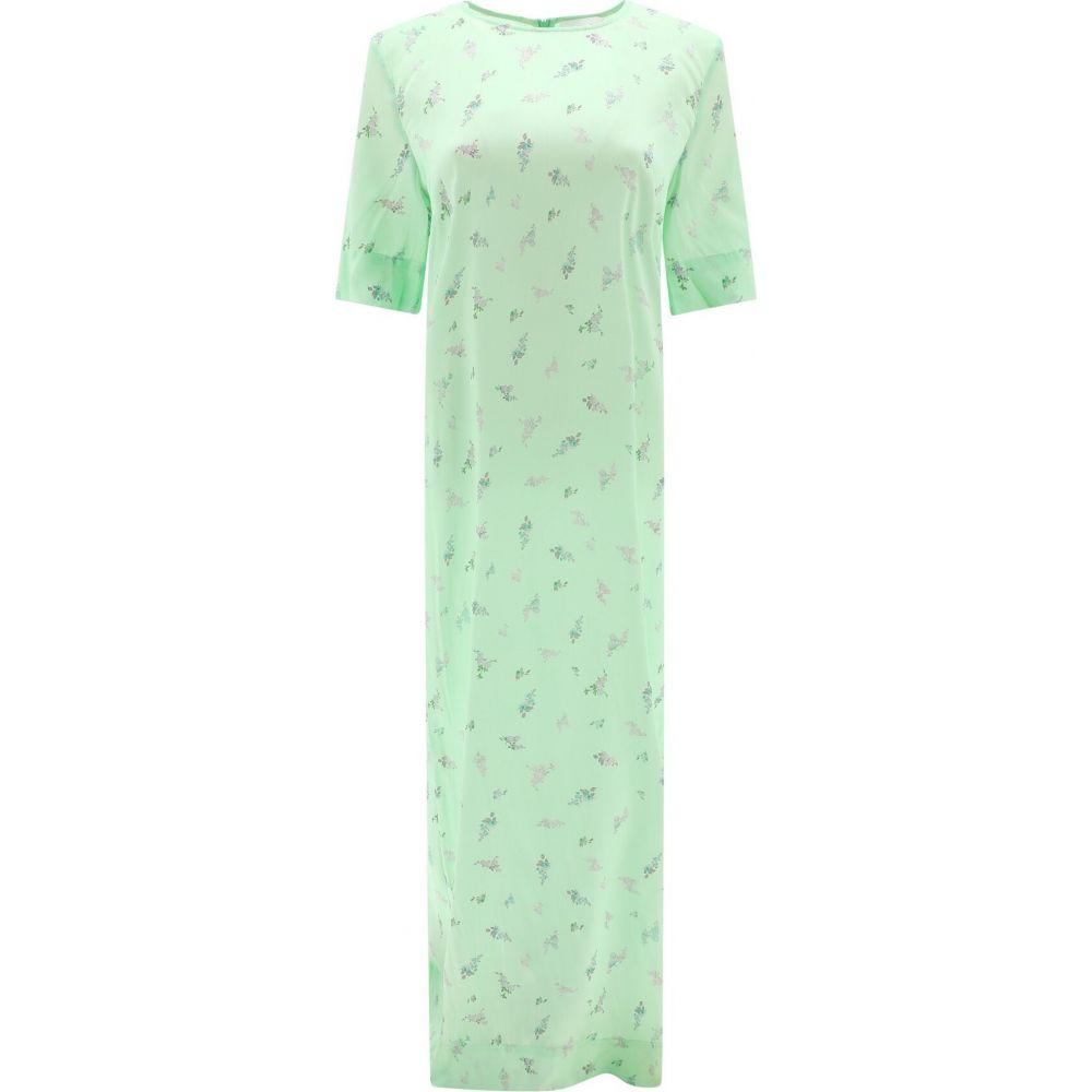 ガニー Ganni レディース ワンピース ワンピース・ドレス【Silk dress with floral print】Green