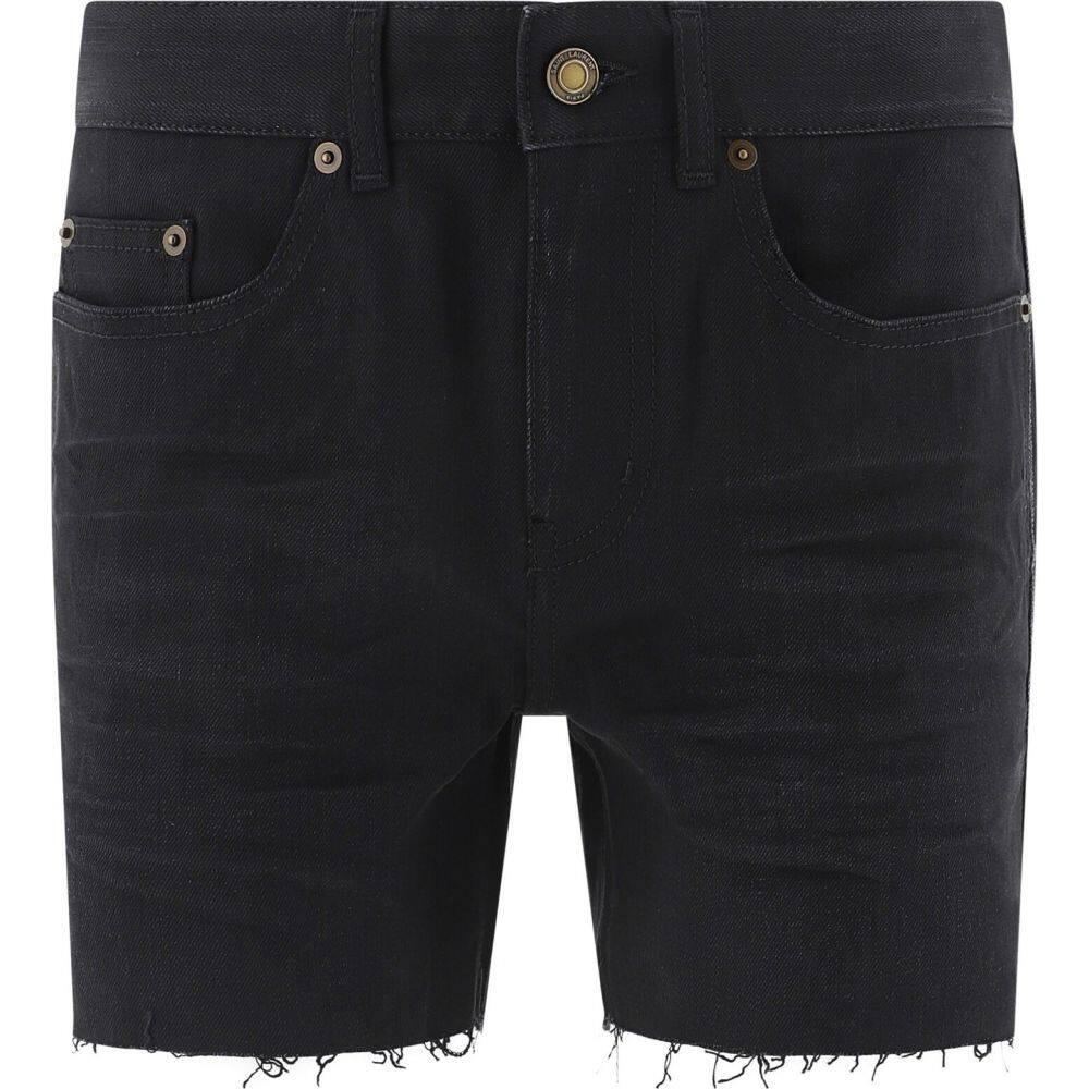 イヴ サンローラン Saint Laurent レディース ショートパンツ デニム ボトムス・パンツ【Ripped denim shorts】Black