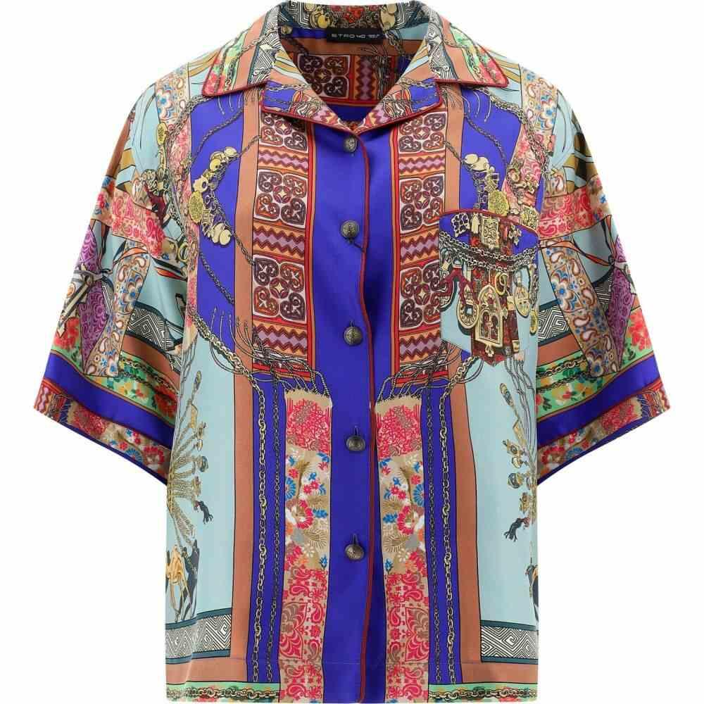 エトロ Etro レディース ブラウス・シャツ トップス【Jacquard silk shirt】Blue