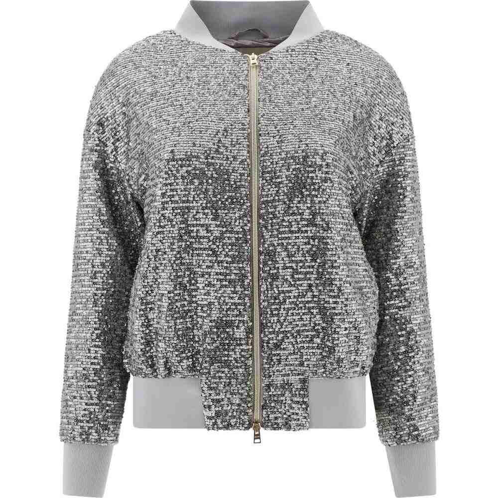 ヘルノ Herno レディース ジャケット アウター【Sequin jacket with zip closure】Silver