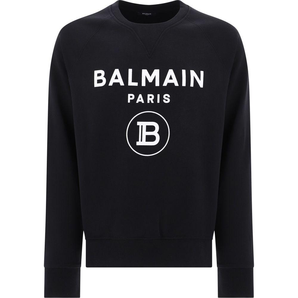 バルマン Balmain メンズ スウェット・トレーナー トップス【Flocked Logo Sweatshirt】Black