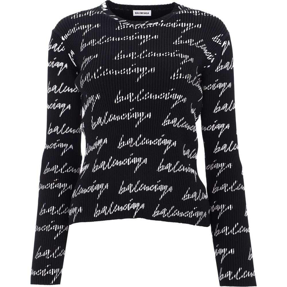 バレンシアガ Balenciaga レディース ニット・セーター トップス【All-Over Script Logo Sweater】Black
