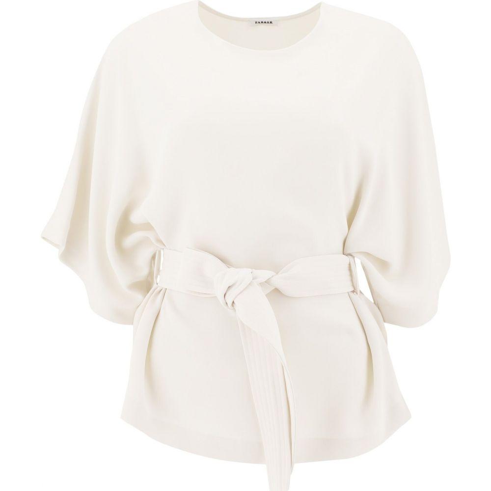 パロッシュ P.A.R.O.S.H. レディース Tシャツ トップス【T-Shirt With Belt】White