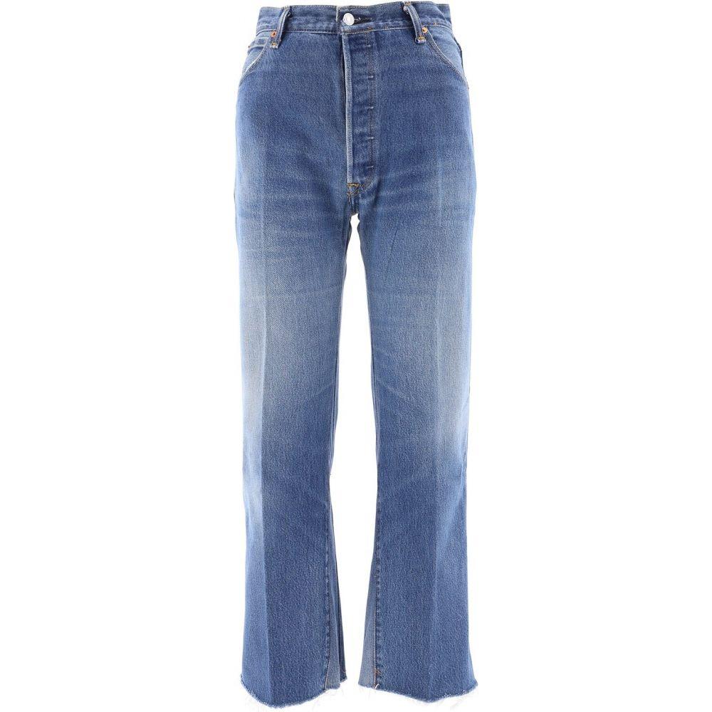 リダン RE/DONE レディース ジーンズ・デニム ボトムス・パンツ【Five Pockets Jeans With Fringed】Blue