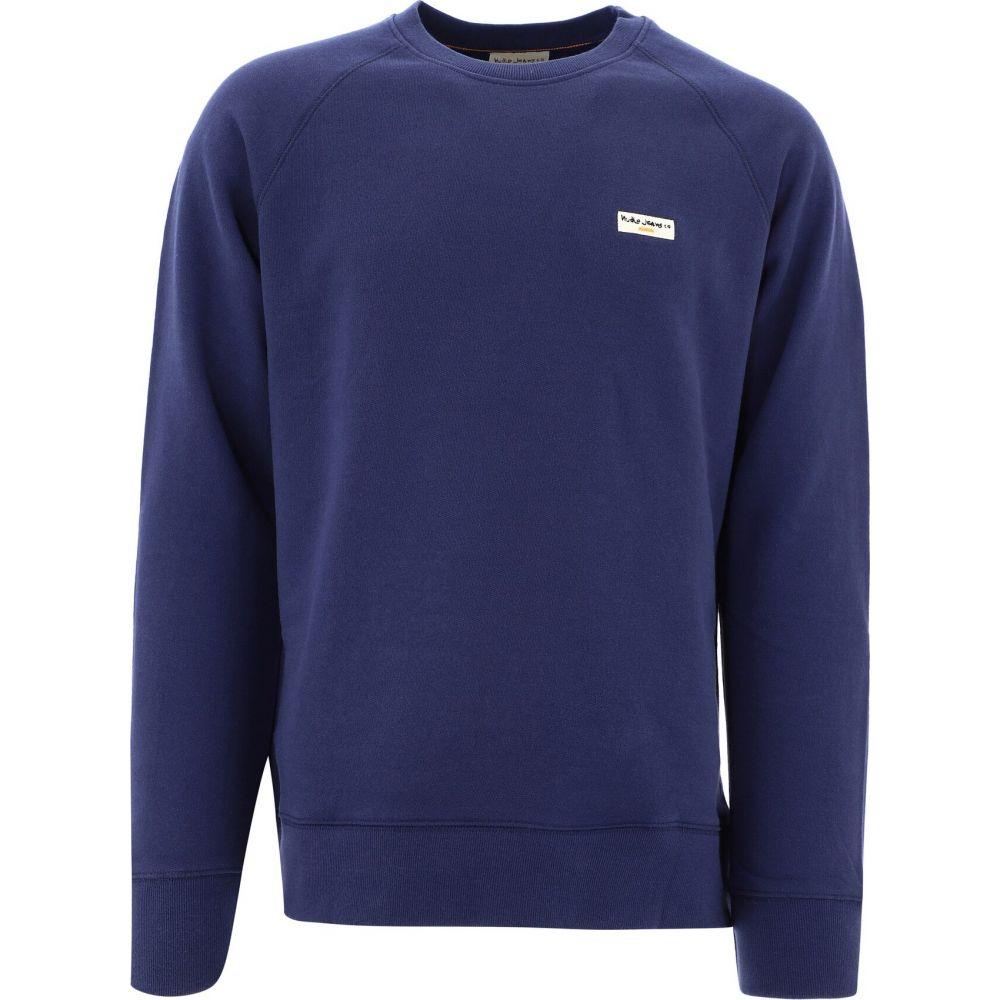 ヌーディージーンズ メンズ アウトレット☆送料無料 トップス スウェット トレーナー Blue Sweatshirt お洒落