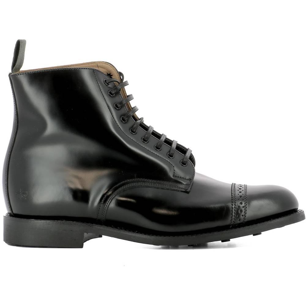 サンダース メンズ シューズ・靴 ブーツ【Black leather ankle boots】