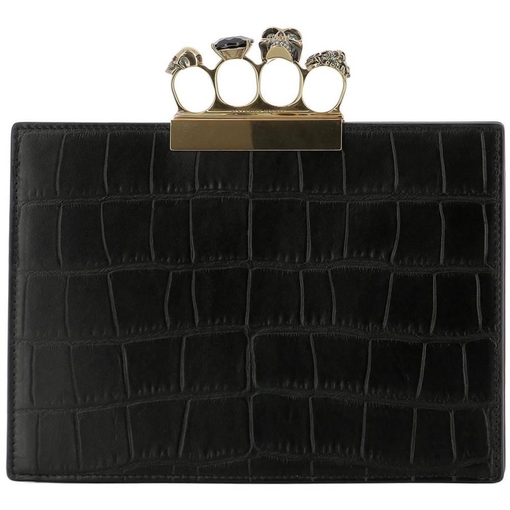 アレキサンダー マックイーン レディース バッグ クラッチバッグ【Black leather clutch】Black
