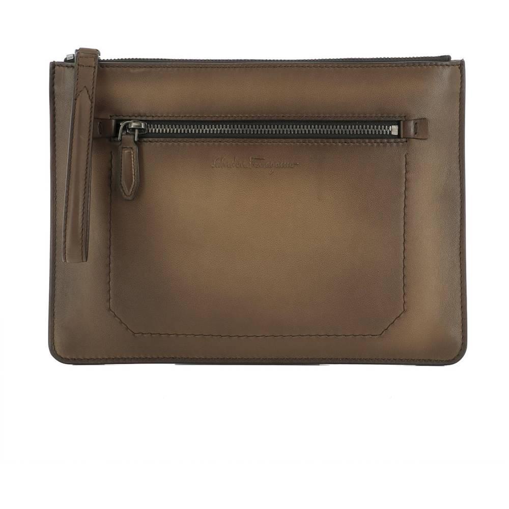 サルヴァトーレ フェラガモ レディース バッグ【Brown leather pochette】Brown