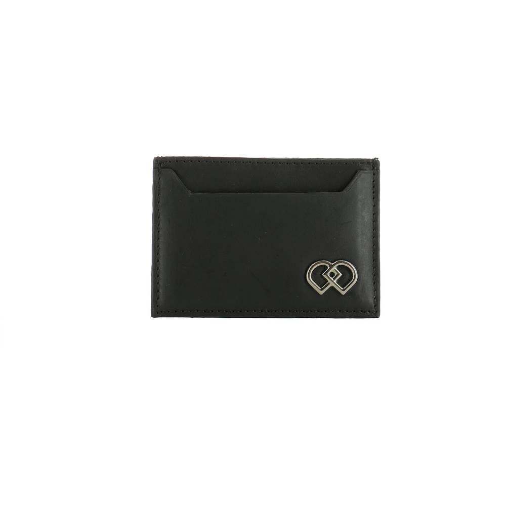 ディースクエアード メンズ カードケース・名刺入れ【Black leather card holder】Black