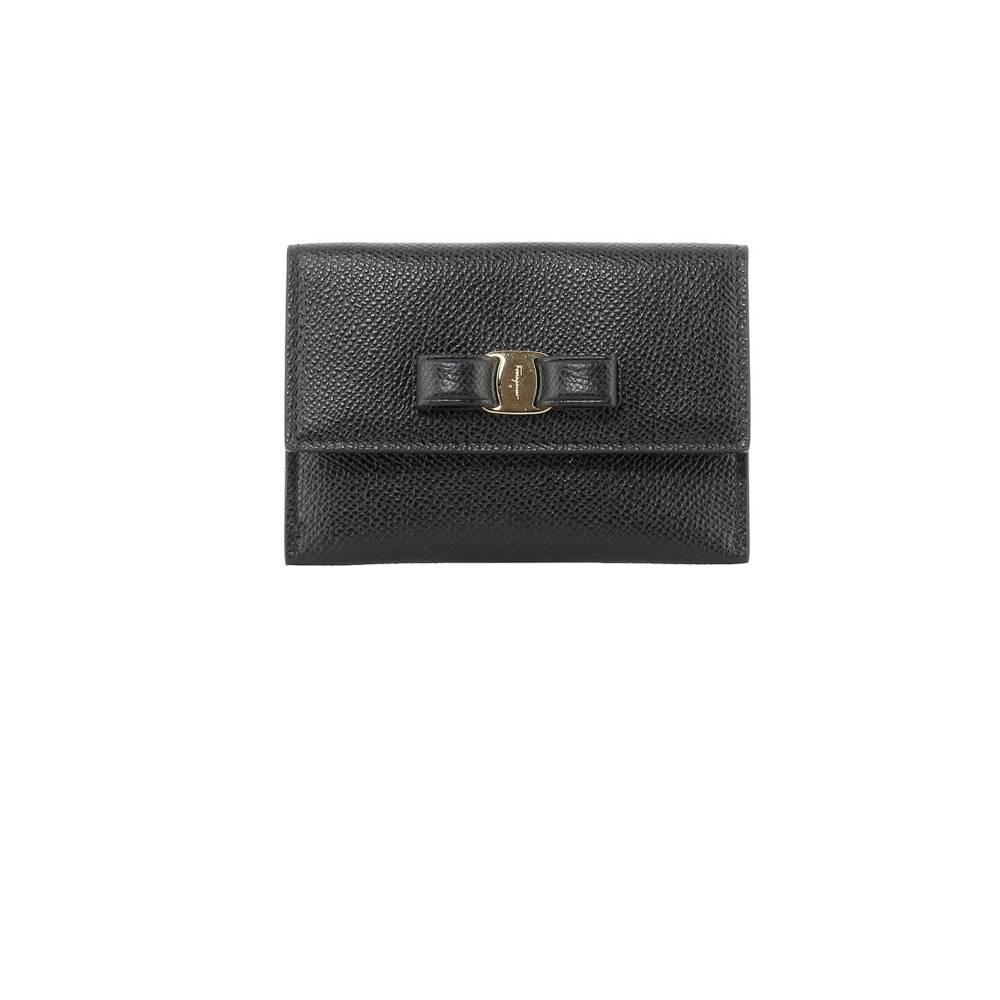 サルヴァトーレ フェラガモ レディース カードケース・名刺入れ【Black leather card holder】Black