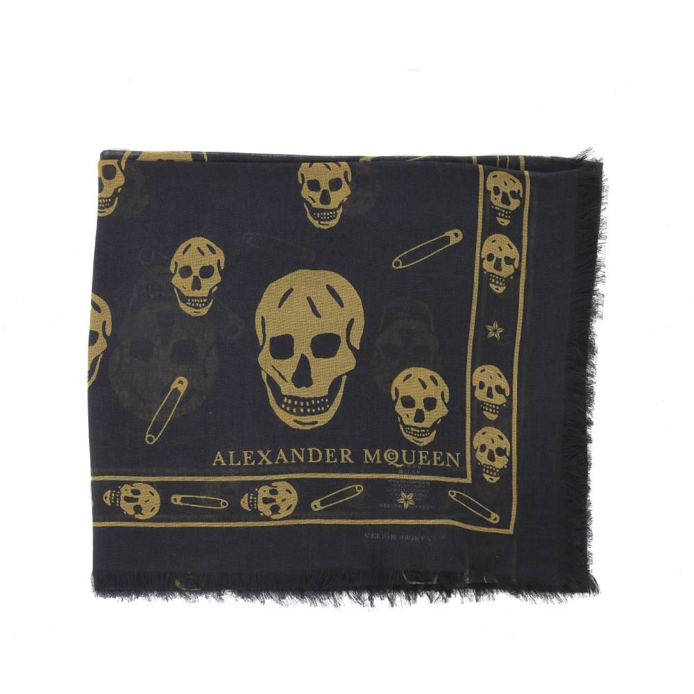 アレキサンダー マックイーン メンズ マフラー・スカーフ・ストール【Silk foulard】Black