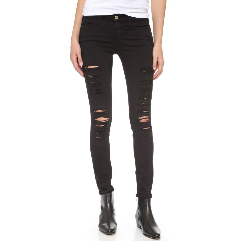 フレーム FRAME レディース ボトムス スキニー【Le Color Rip Skinny Jeans】Film Noir