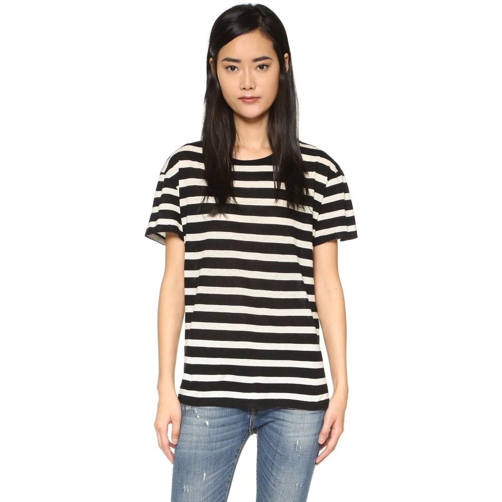 アールサーティーン R13 レディース トップス Tシャツ【Boy Striped Tee】Black w/ White Judy Stripe