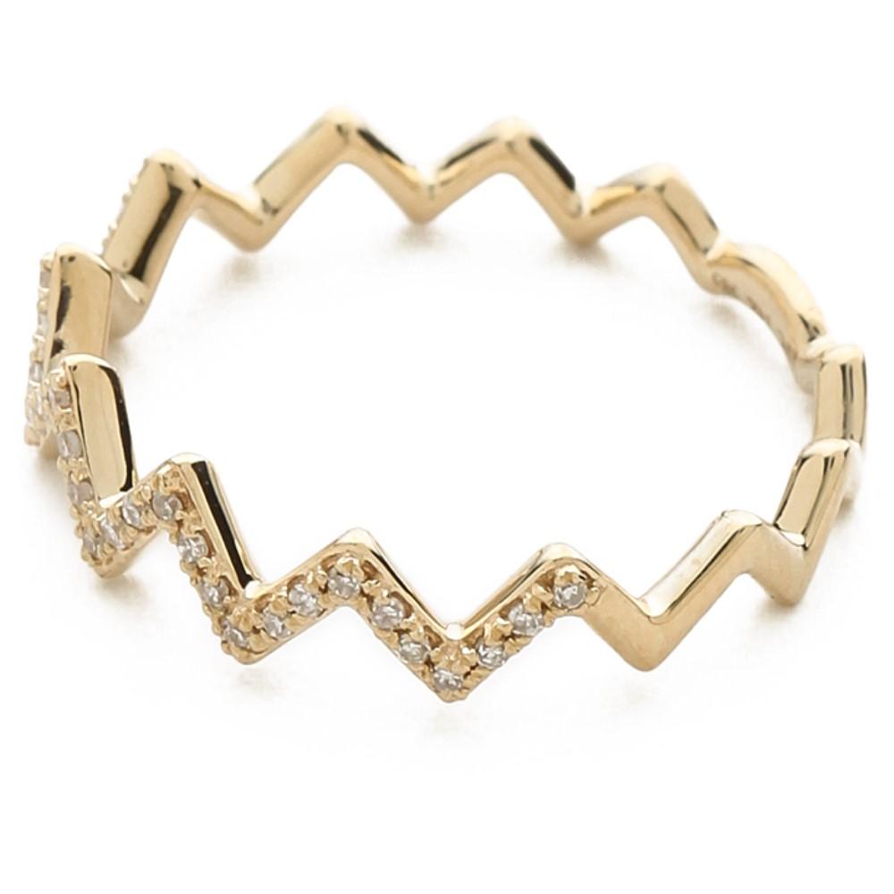 イーエフコレクション レディース アクセサリー 指輪 【サイズ交換無料】 イーエフコレクション EF Collection レディース アクセサリー 指輪【Pave Diamond Zigzag Stack Ring】Yellow Gold/Clear