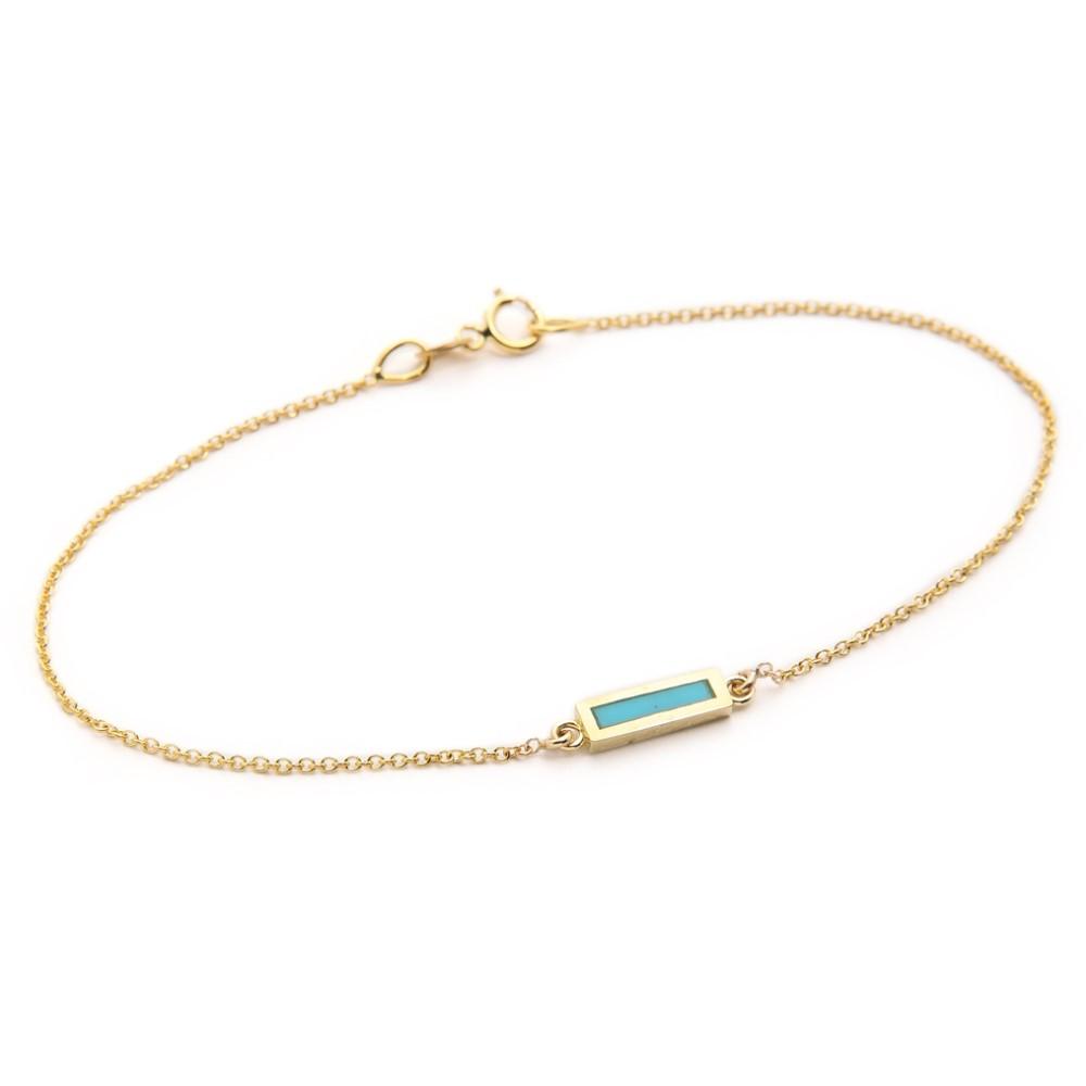 ジェニファーメイヤー Jennifer Meyer Jewelry レディース アクセサリー ブレスレット【Inlay Short Bar Bracelet】Gold/Turquoise