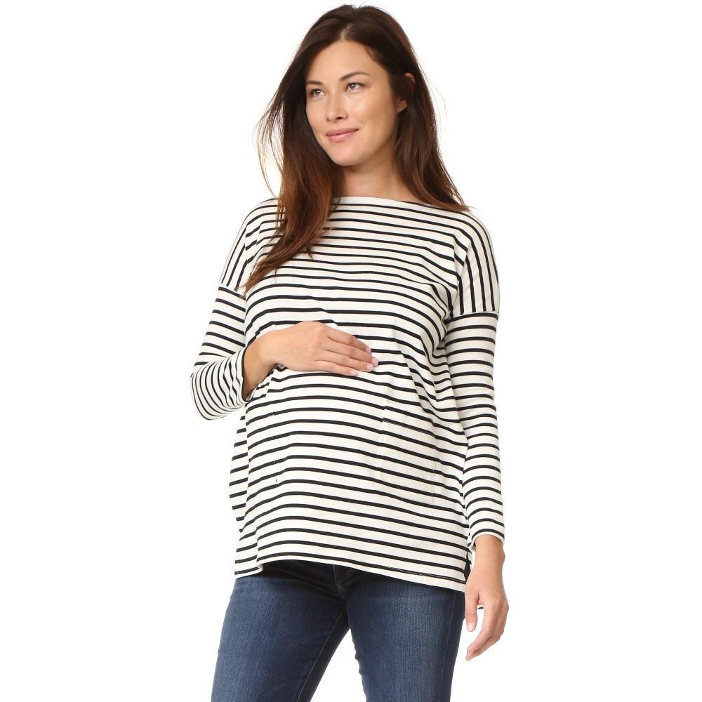 ハッチ HATCH レディース トップス Tシャツ【The Bateau Top】Black & White Stripe