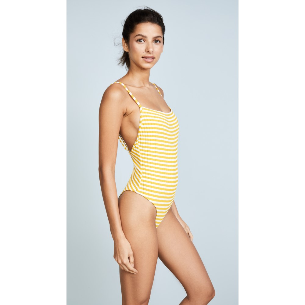 ソリッド&ストライプ レディース 水着・ビーチウェア ワンピース【The Chelsea Stripe Rib One Piece Swimsuit】Mustard Cream Stripe