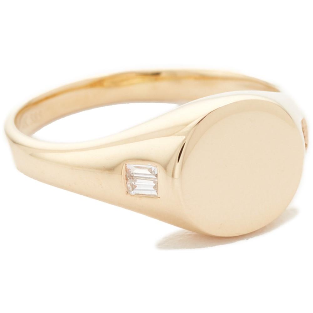 イーエフコレクション レディース ジュエリー・アクセサリー 指輪・リング【14k Diamond Baguette Signet Ring】Yellow Gold