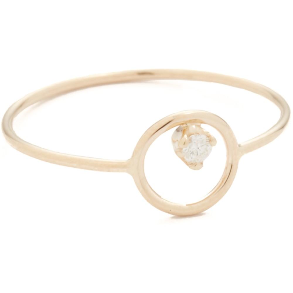 ゾーイ チコ レディース ジュエリー・アクセサリー 指輪・リング【14k Gold Paris Circle Stacking Ring】Gold/Clear