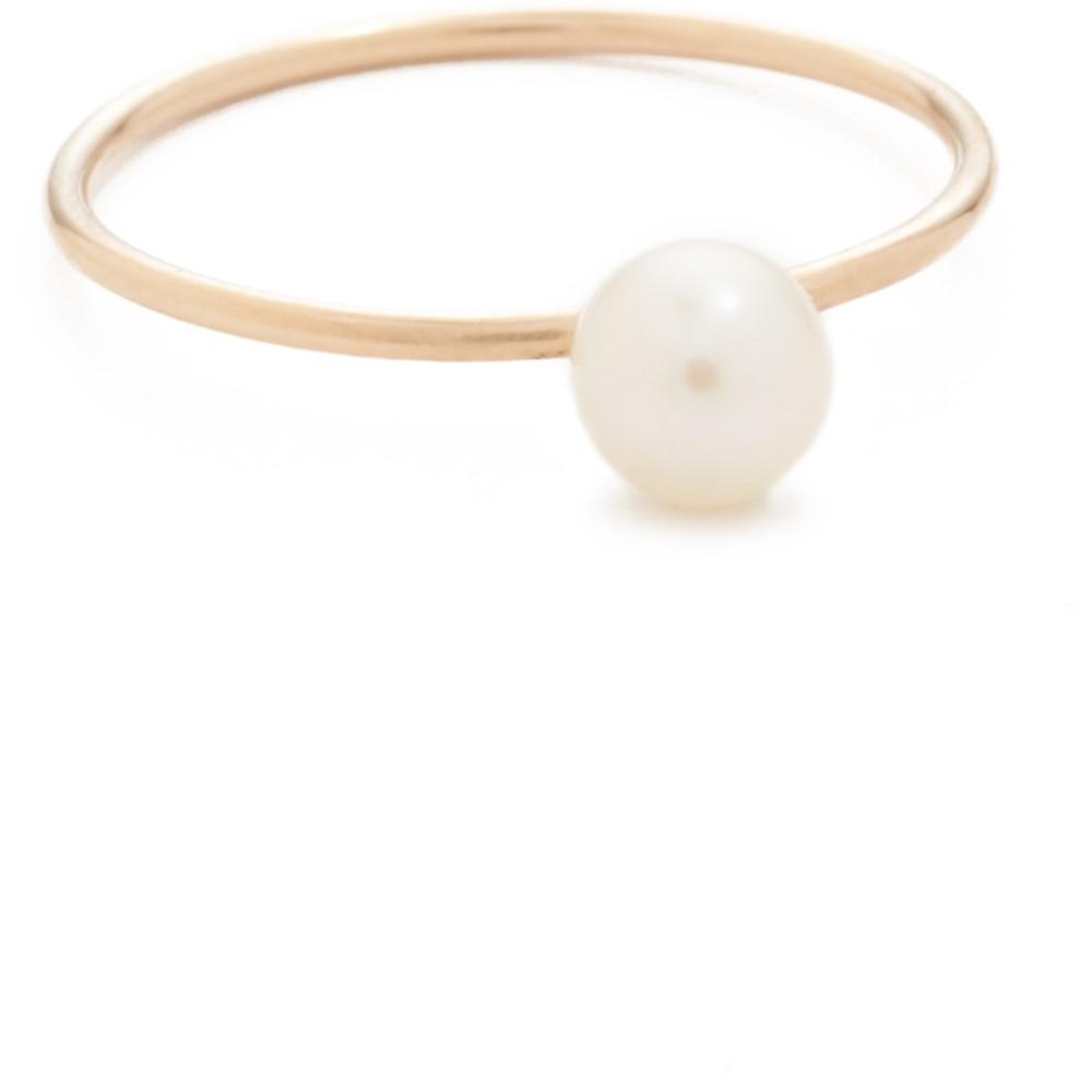 ゾーイ チコ レディース ジュエリー・アクセサリー 指輪・リング【14k Gold Freshwater Cultured Pearl Stacking Ring】Gold/Clear