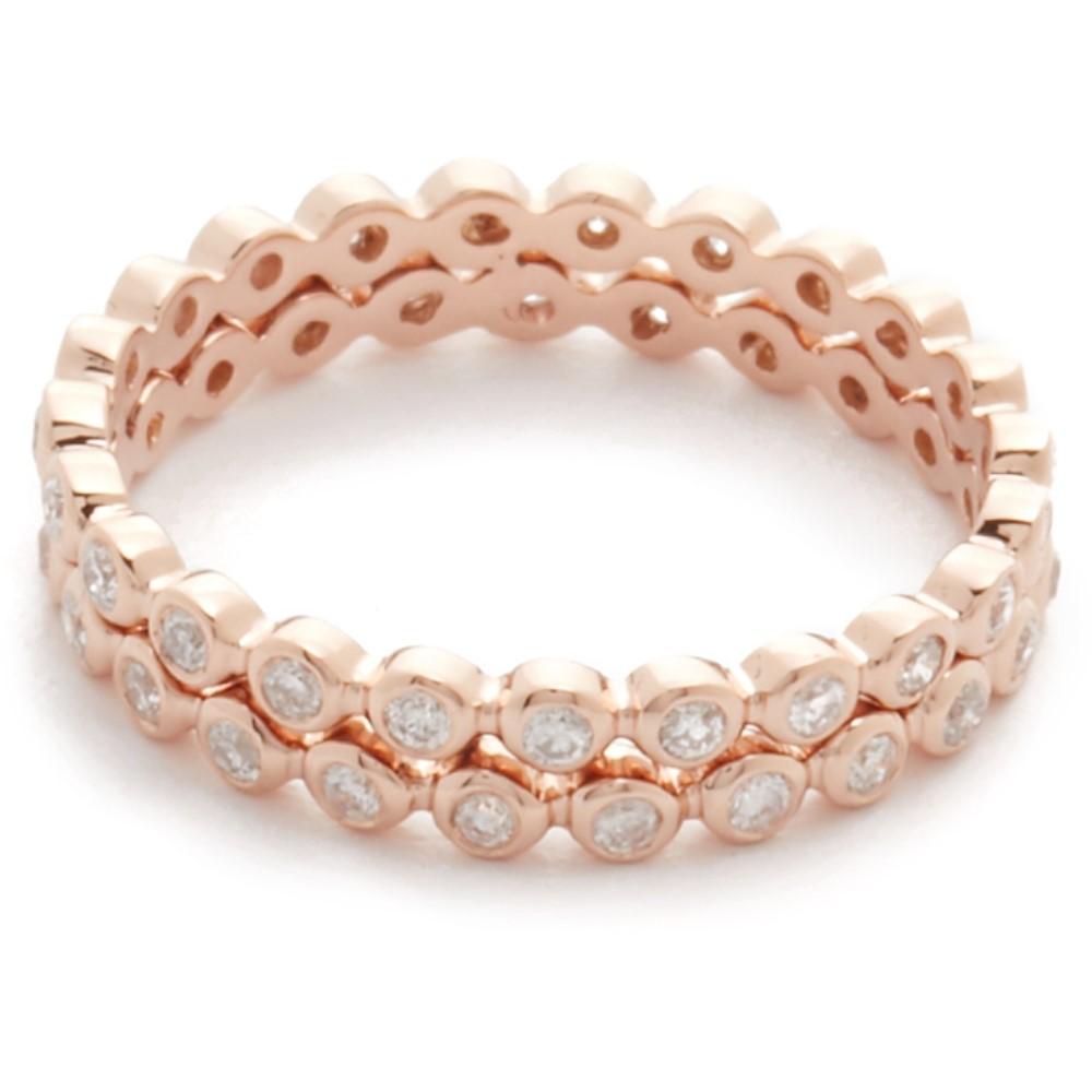 シャイ レディース ジュエリー・アクセサリー 指輪・リング【Double Row Diamond 18k Gold Eternity Ring】Rose Gold/White Diamond