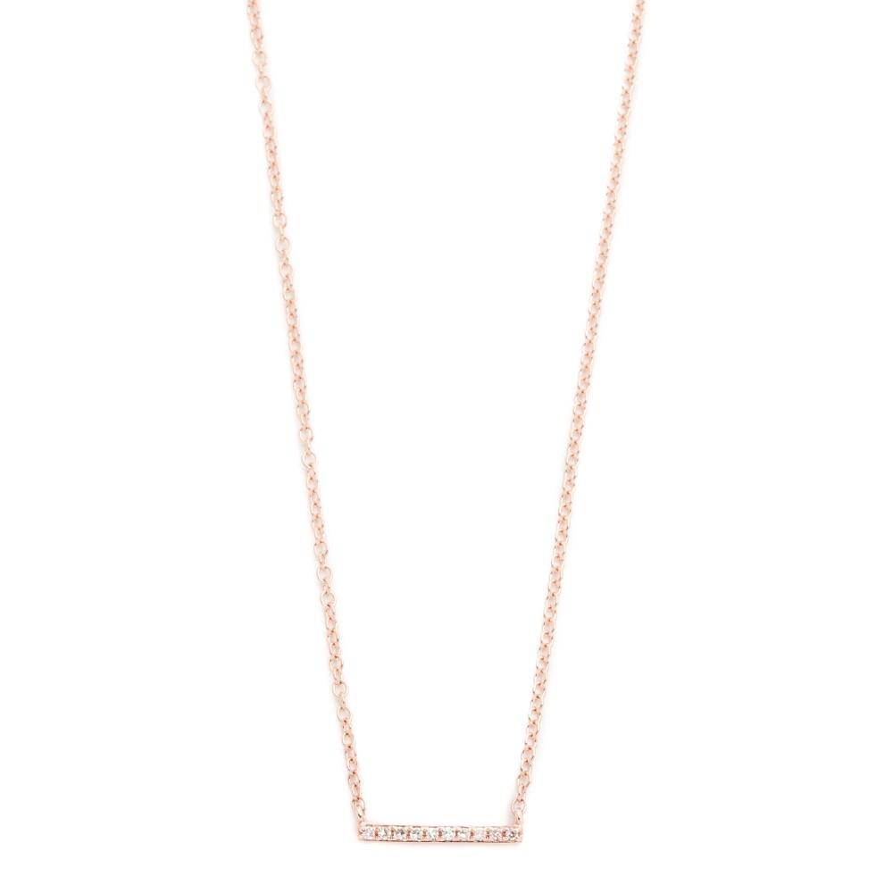 イーエフコレクション レディース ジュエリー・アクセサリー ネックレス【14k Gold Diamond Mini Bar Necklace】Rose Gold