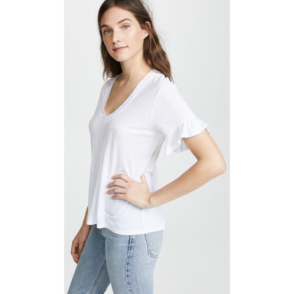 デイヴィッド ラーナー レディース トップス Tシャツ【Ruffle Sleeve Tee】White