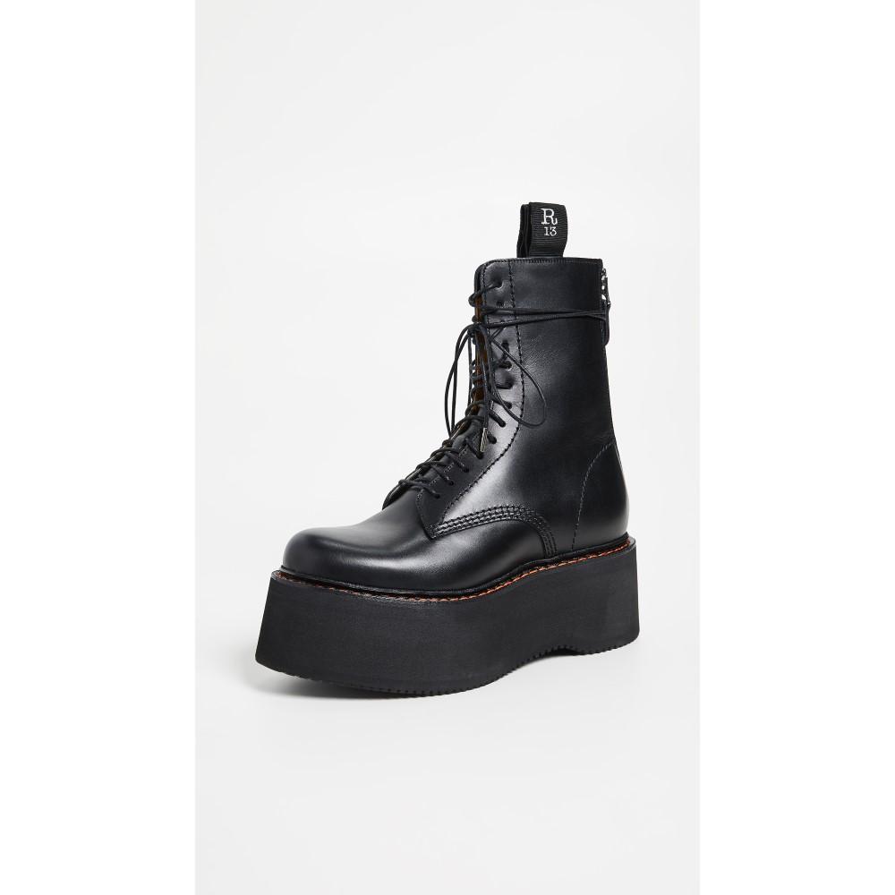 アール サーティーン レディース シューズ・靴 ブーツ【Combat Stack Boots】Black
