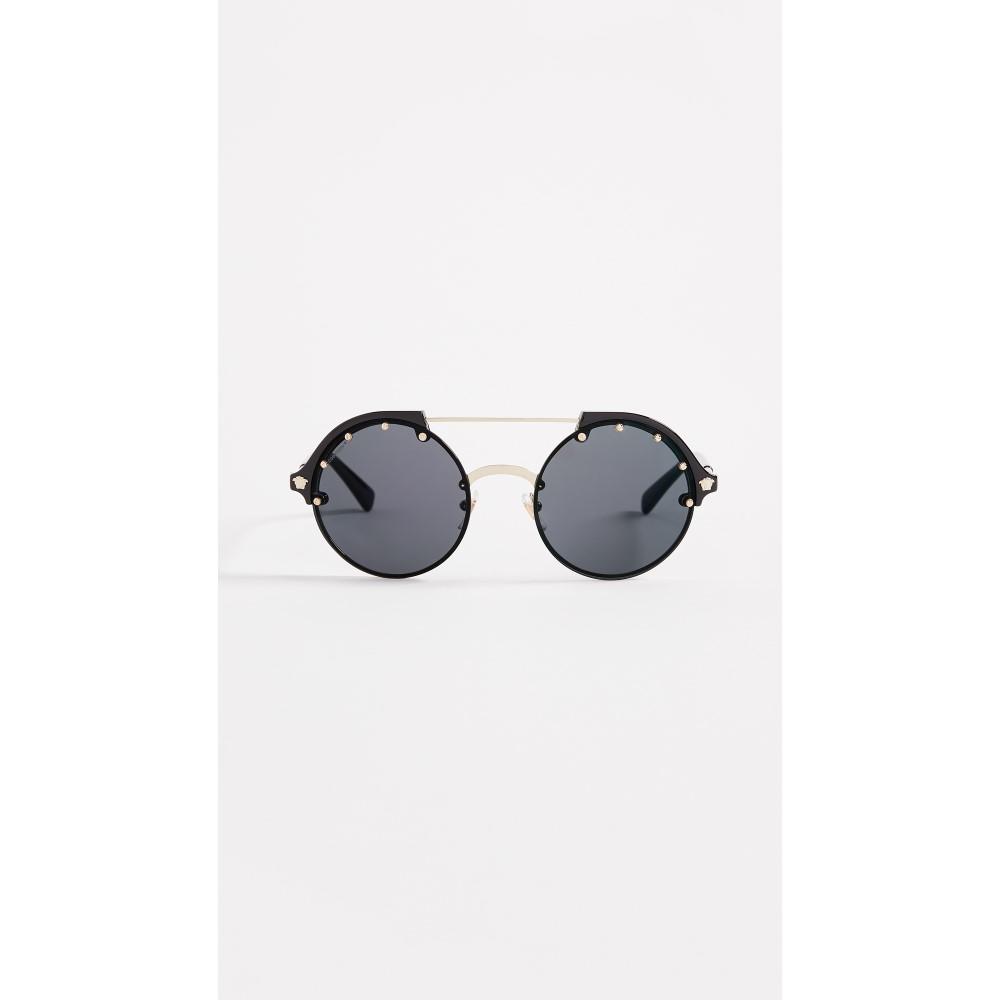 ヴェルサーチ レディース メガネ・サングラス【Round Aviator Sunglasses】Black/Grey