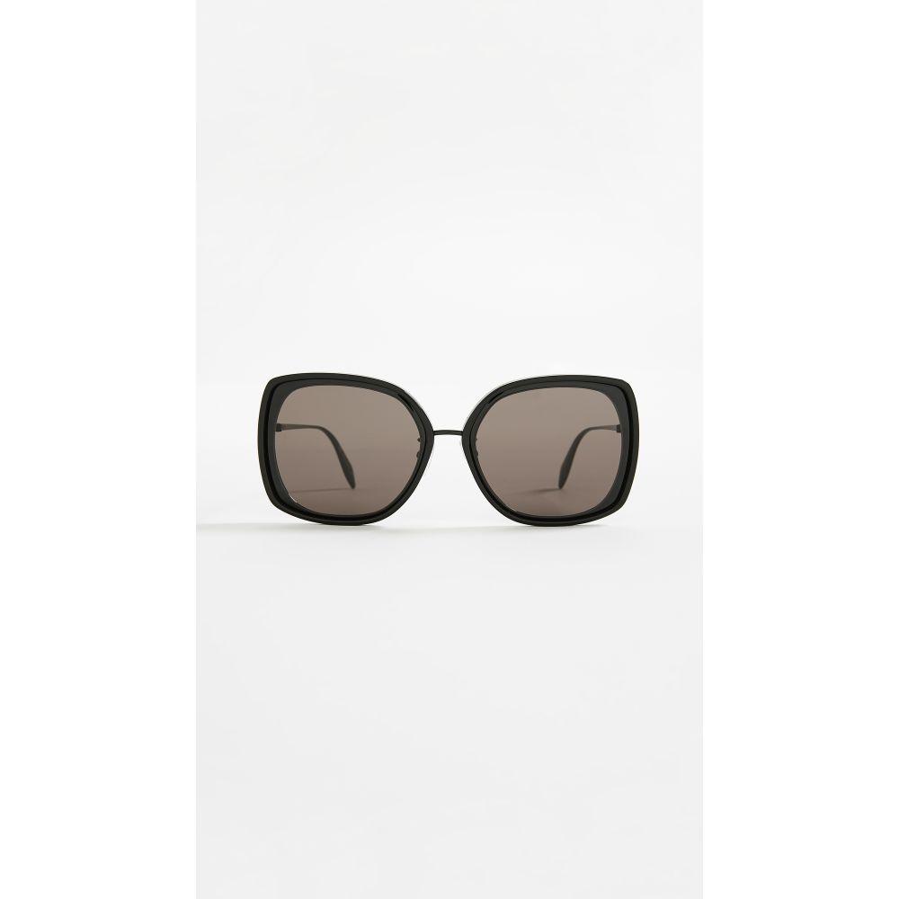 アレキサンダー マックイーン レディース メガネ・サングラス【Sculpted Metal Square Sunglasses】Black/Grey