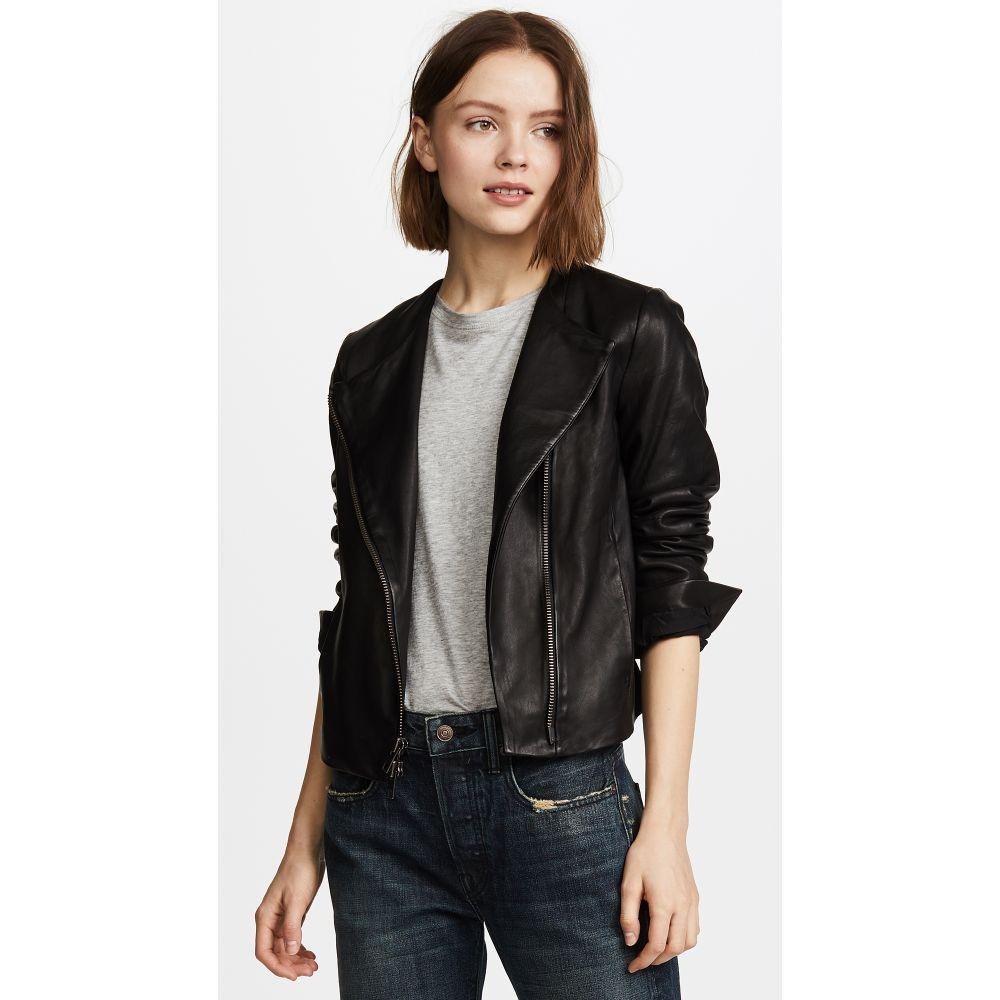 ヴィンス レディース アウター レザージャケット【Cross Front Leather Jacket】Black