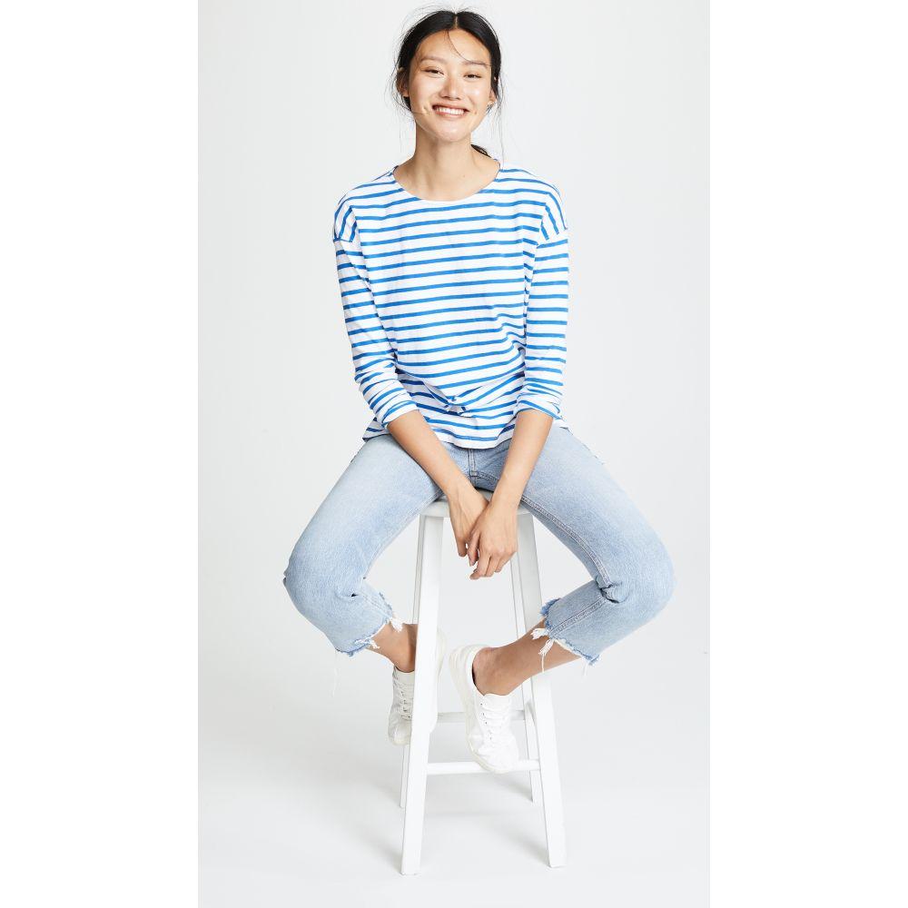 カレント エリオット レディース トップス 長袖Tシャツ【The Breton Tee】Bright Blue & White Stripe