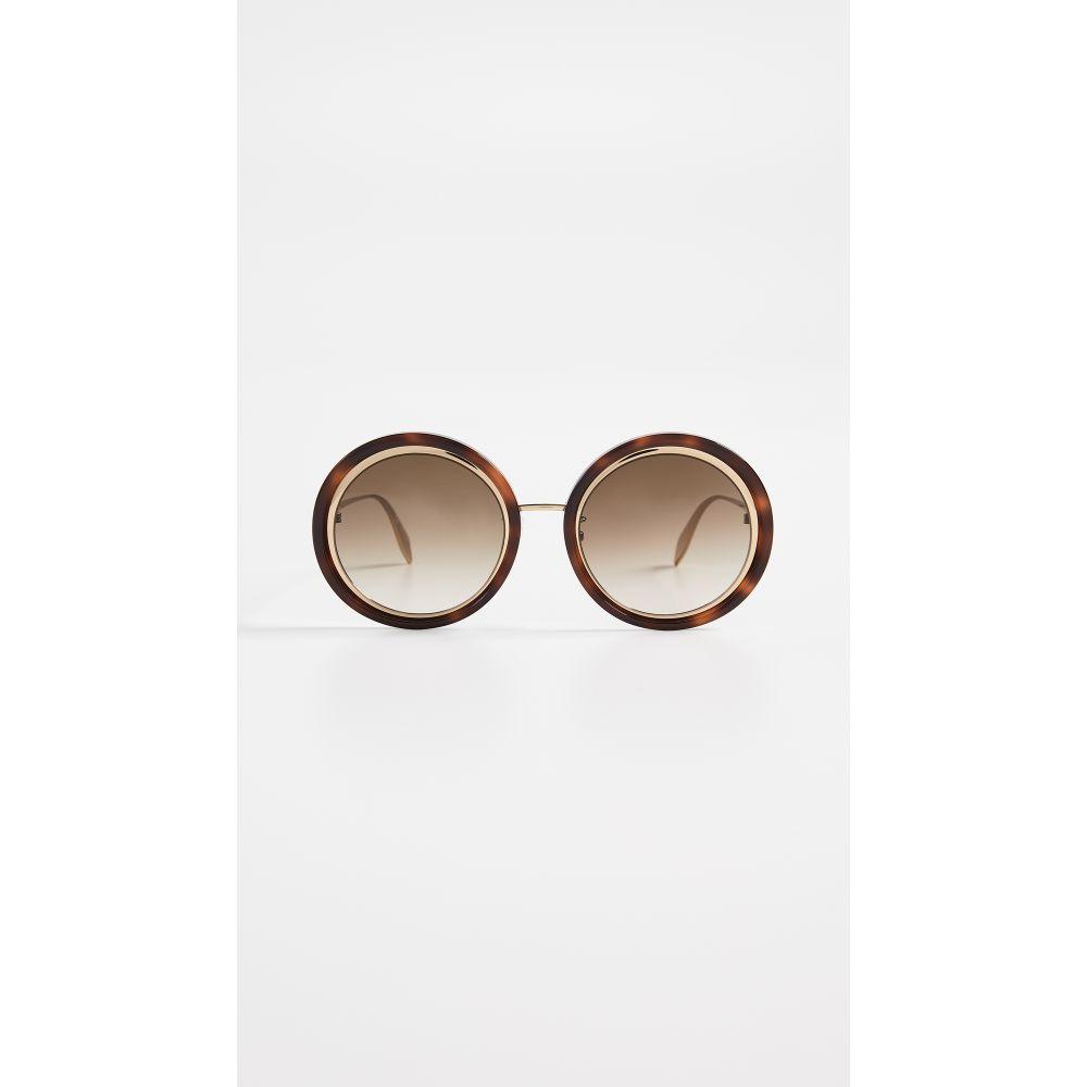 アレキサンダー マックイーン レディース メガネ・サングラス【Sculpted Round Sunglasses】Gold/Brown