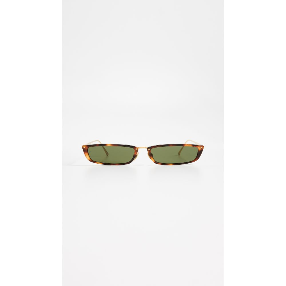 リンダ ファロー レディース メガネ・サングラス【Narrow Rectangular Sunglasses】Brown/Green