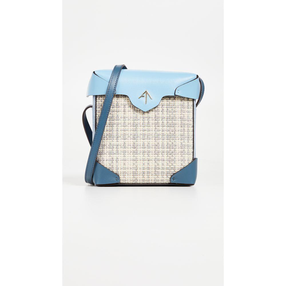 マニュ アトリエ レディース バッグ ショルダーバッグ【Mini Pristine Box Tweed Bag】Tan/White/Blue