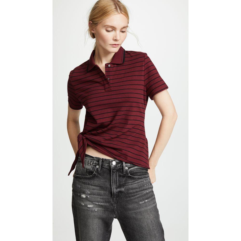 アレキサンダー ワン レディース トップス ポロシャツ【Side Knot Polo Shirt】Black/Oxblood Stripe