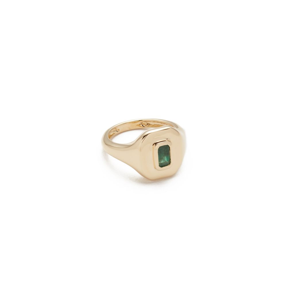 シャイ レディース ジュエリー・アクセサリー 指輪・リング【18k Gold Baguette Essential Pinky Ring】Gold/Emerald