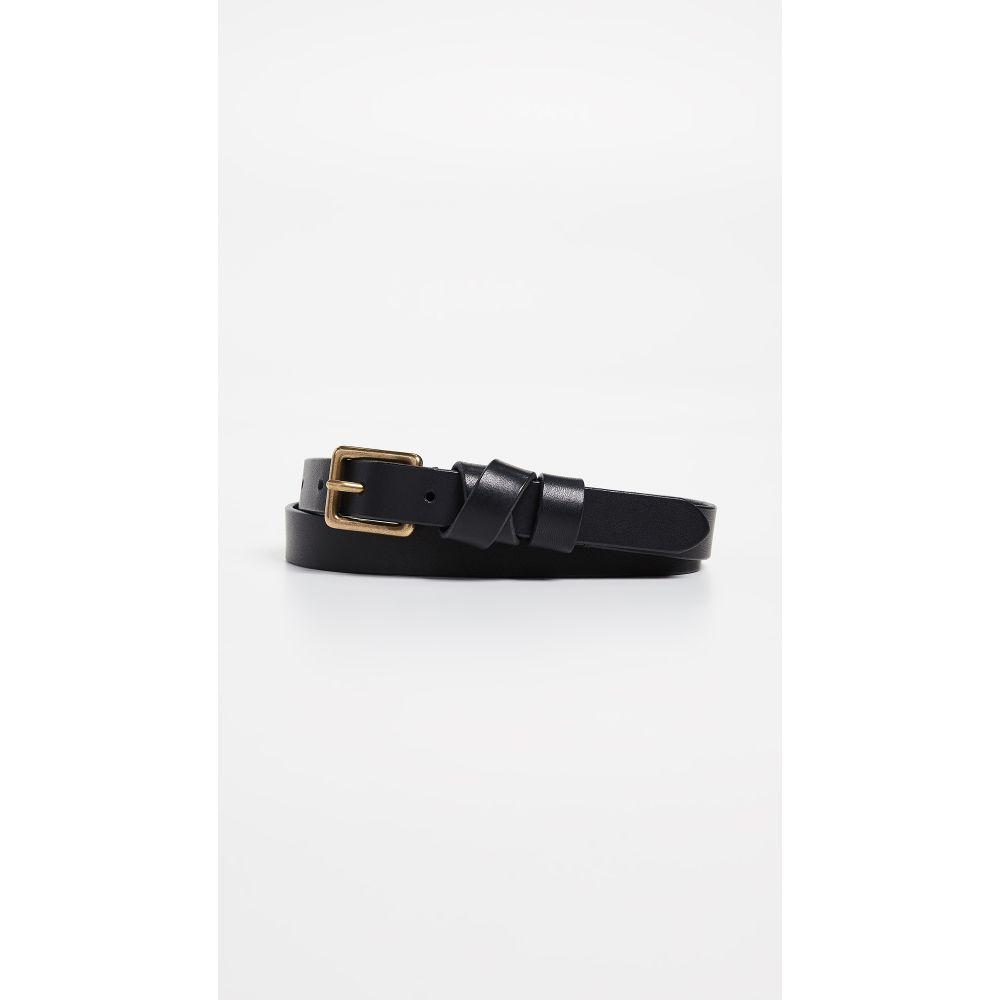 メイドウェル レディース ベルト【Leather Crisscross Skinny Belt】True Black