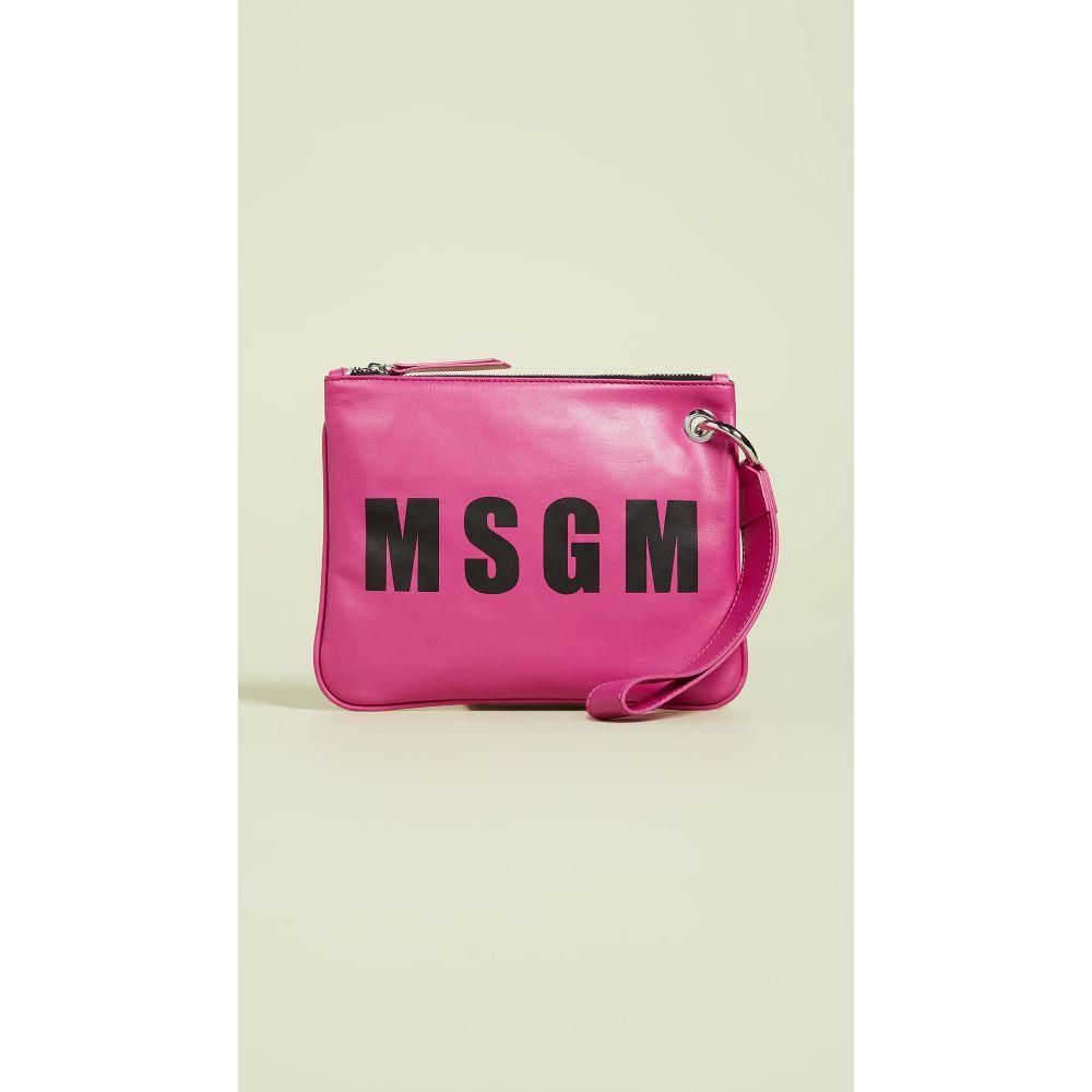エムエスジーエム MSGM レディース ポーチ【Leather Wristlet】Hot Pink