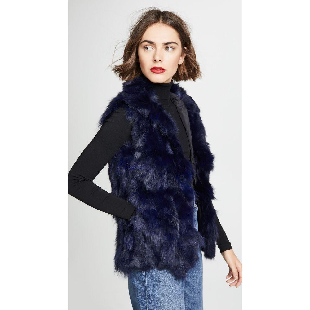 アドリエン ランドー Adrienne Landau レディース トップス ベスト・ジレ【Fur Accent Vest】Navy