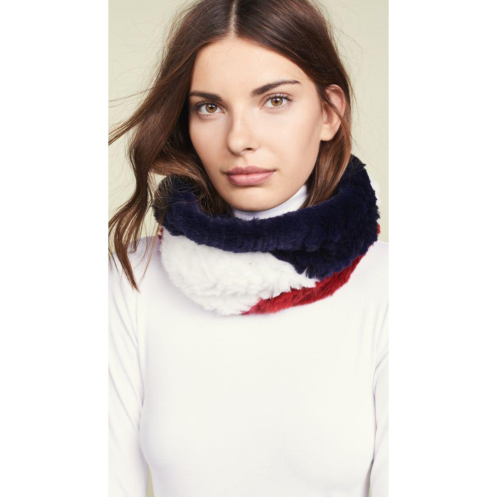 アドリエン ランドー Adrienne Landau レディース マフラー・スカーフ・ストール【Tri-Tone Knit Fur Cowls Scarf】Red/White/Blue