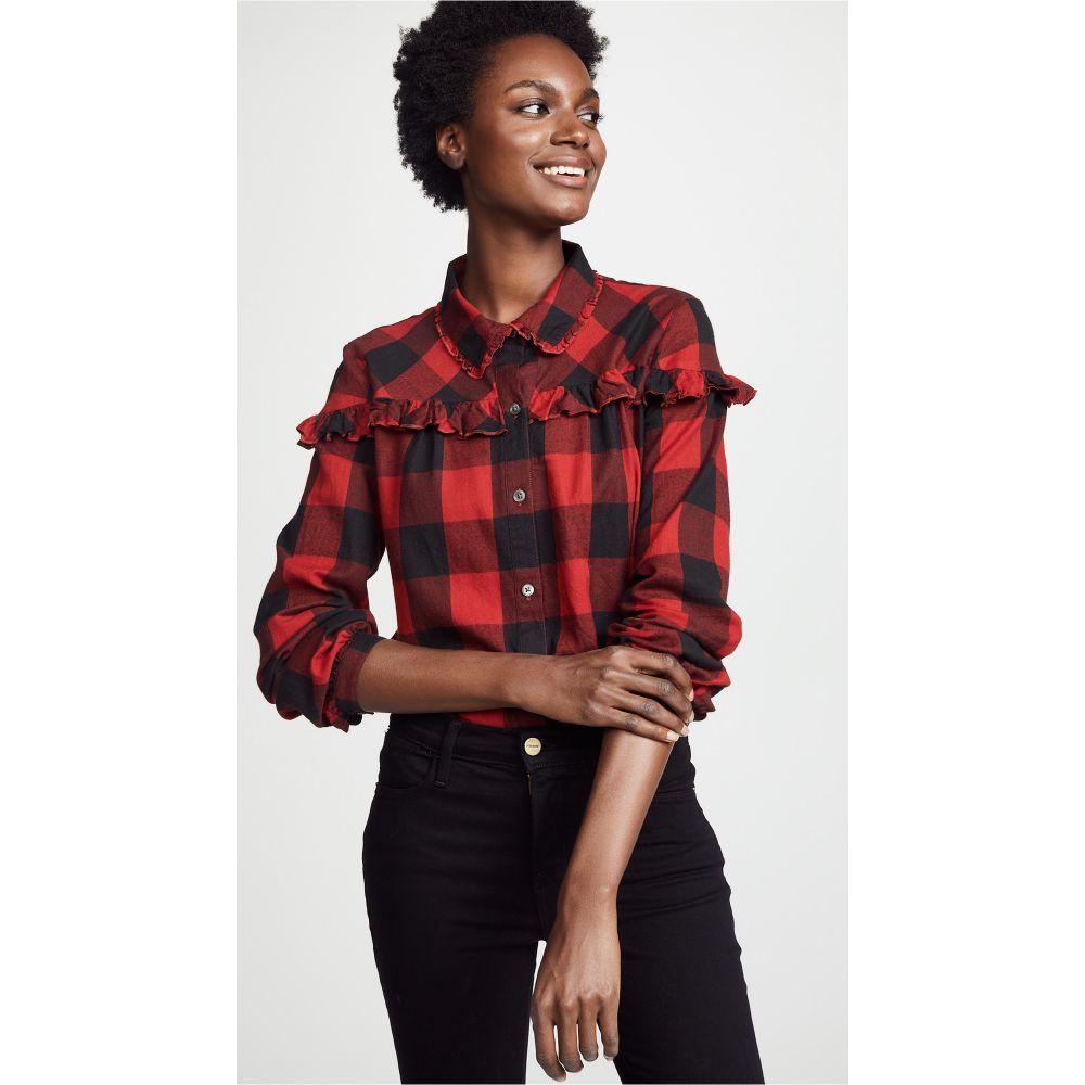 フレーム FRAME Shirt】Hunter レディース トップス フレーム FRAME ブラウス・シャツ【Ruffle Button Up Shirt】Hunter Red Multi, シンクビー!:e42977e6 --- cgt-tbc.fr